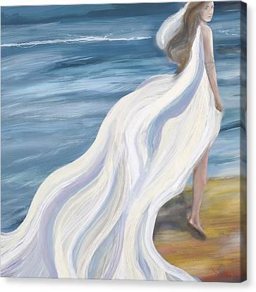 Woman Strolling On The Beach Canvas Print