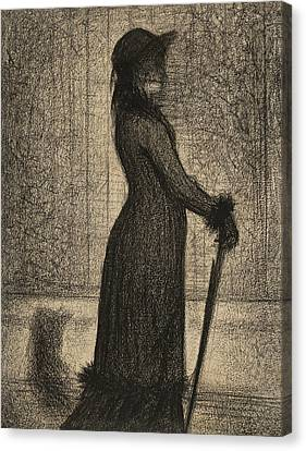 Woman Strolling Canvas Print by Georges-Pierre Seurat