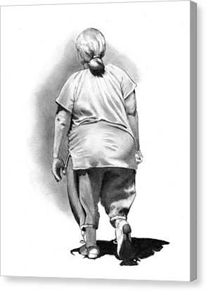 Woman Strolling In Sunshine Canvas Print by Joyce Geleynse