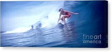 Woman Surfer Canvas Print by Stanley Morganstein