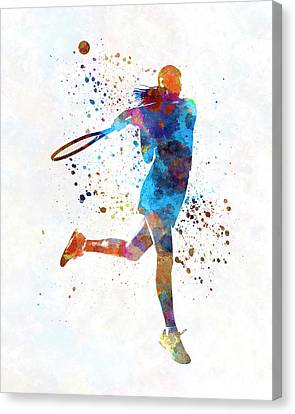 Women Tennis Canvas Print - Woman Tennis Player 03 In Watercolor by Pablo Romero