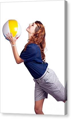 Woman Throwing Beach Ball On White Background Canvas Print by Jorgo Photography - Wall Art Gallery