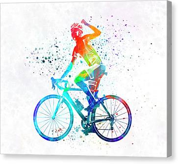 Ironman Canvas Print - Woman Triathlon Cycling 03 by Pablo Romero