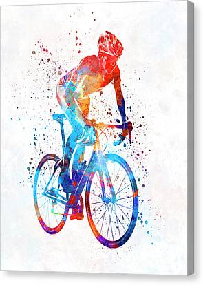 Ironman Canvas Print - Woman Triathlon Cycling 06 by Pablo Romero