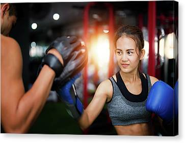 Woman Ttaining For Fitness Boxing Canvas Print