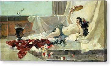 Woman Undressed Canvas Print by Joaquin Sorolla y Bastida
