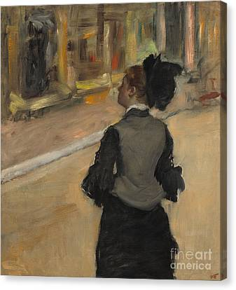 Woman Viewed From Behind, Visit To The Museum Canvas Print by Edgar Degas