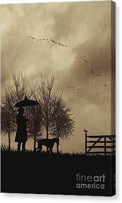 Woman Walking Dog Canvas Print