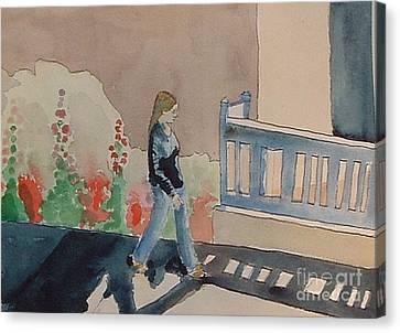 Woman Walking Down Nusbaum Street Canvas Print
