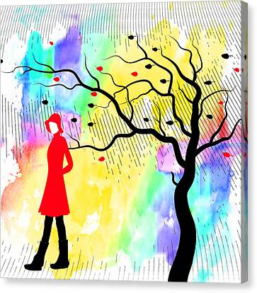 Woman Walking In Blustery Fall Rain With Colorful Watercolor Background Canvas Print