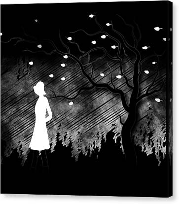 Woman Walking In Blustery Fall Scene - Black And White Canvas Print