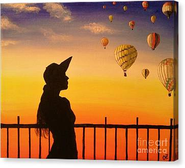 Woman Watching Air Balloons Canvas Print