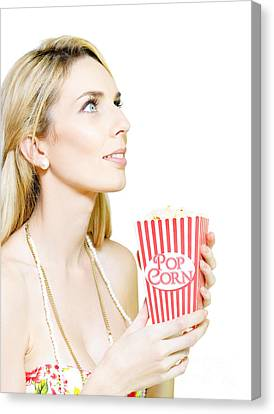 Woman Watching Movie At Cinema Canvas Print by Jorgo Photography - Wall Art Gallery