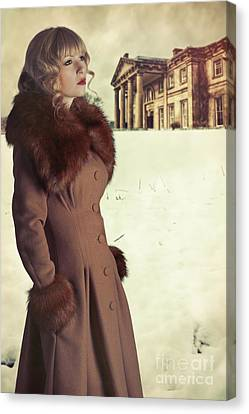 Woman Wearing Fur Trimmed Coat Canvas Print by Amanda Elwell