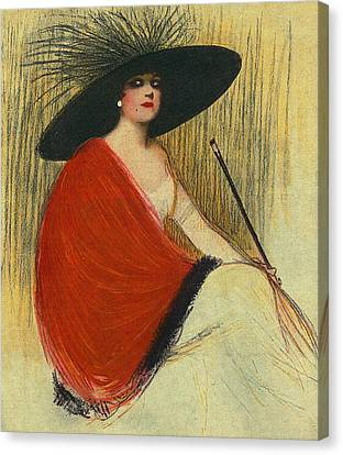 Canvas Print featuring the digital art Woman Wearing Hat by Robert G Kernodle