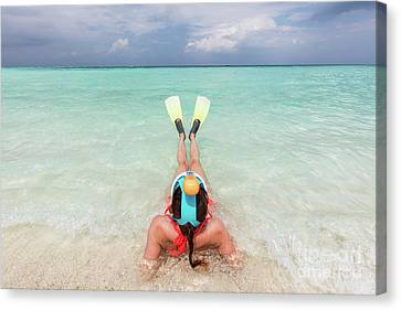 Woman Wearing Snorkeling Mask And Fins Ready To Snorkel In The Ocean, Maldives. Canvas Print by Michal Bednarek