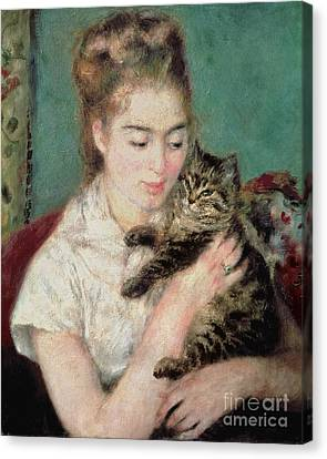 Woman With A Cat Canvas Print by Pierre Auguste Renoir