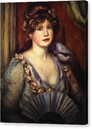 Woman With A Fan After Renoir Canvas Print by Georgiana Romanovna