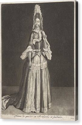 Stein Canvas Print - Woman With A Fan And Stein Kerke Tie, Peter Schenk I, After Jean De Saint-jean, 1694 by Celestial Images