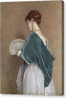 Woman With A Fan Canvas Print by John Dawson Watson