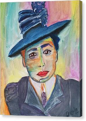 Canvas Print featuring the painting Woman With A Hat by Carol Duarte