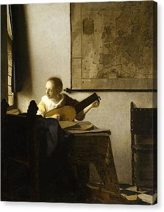 Woman Playing A Lute Canvas Print - Woman With A Lute Near A Window by Johannes Vermeer
