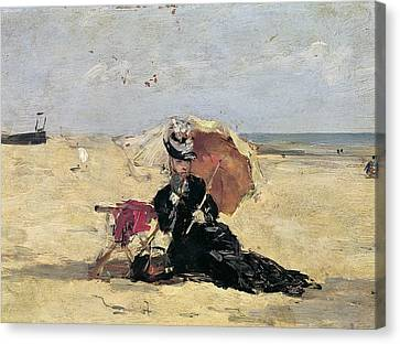 Woman With A Parasol On The Beach Canvas Print