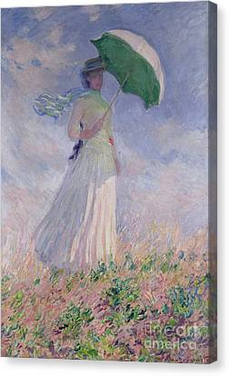 Woman With A Parasol Turned To The Right Canvas Print by Claude Monet