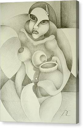 Woman With A Pitcher Canvas Print by Dagmara Czarnota