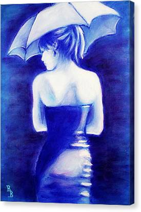 Canvas Print featuring the painting Woman With An Umbrella Blue by Bob Baker