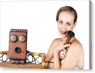 Woman With Antique Telephone Canvas Print by Jorgo Photography - Wall Art Gallery