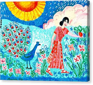 Woman With Apple And Peacock Canvas Print by Sushila Burgess