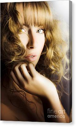 Wavy Canvas Print - Woman With Beautiful Wavy Hair by Jorgo Photography - Wall Art Gallery