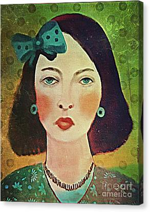 Canvas Print featuring the digital art Woman With Blue Hair Bow by Alexis Rotella