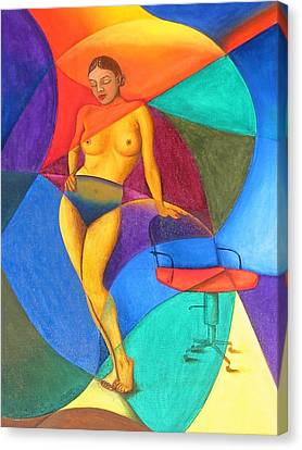 Woman With Chair Canvas Print by Mak Art