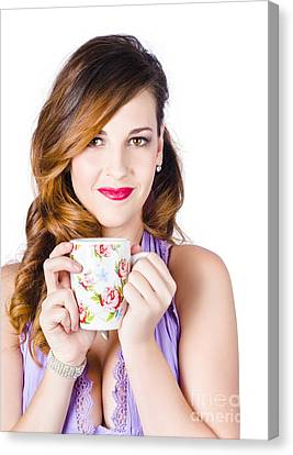 Youthful Canvas Print - Woman With Cup Of Coffee by Jorgo Photography - Wall Art Gallery