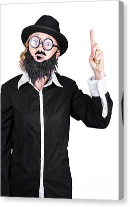 Woman With Fake Beard And Mustache Pointing Finger Up Canvas Print by Jorgo Photography - Wall Art Gallery