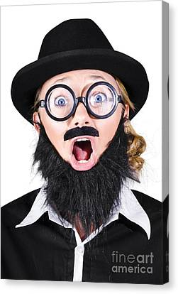 Woman With Fake Beard And Mustache Screaming Canvas Print by Jorgo Photography - Wall Art Gallery