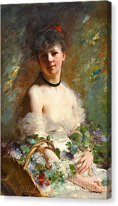 Woman With Flower Basket 1850 Canvas Print by Padre Art