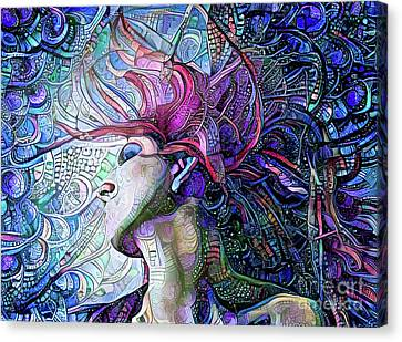 Woman With Flowing Hair 23 Canvas Print