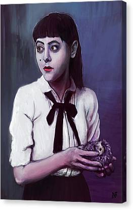Sombre Canvas Print - Woman With Hedgehog by Simon Cardew
