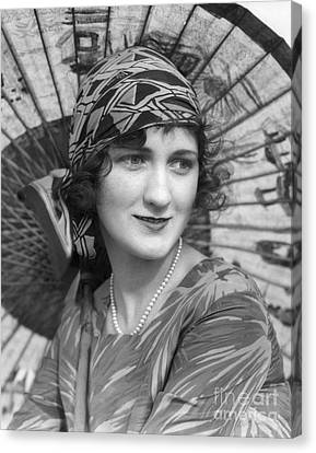 Woman With Japanese Parasol, C.1920s Canvas Print by H. Armstrong Roberts/ClassicStock