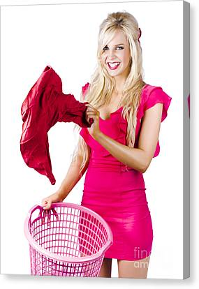 Woman With Laundry Basket Canvas Print by Jorgo Photography - Wall Art Gallery