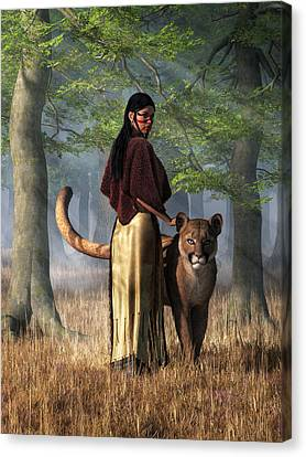 Canvas Print featuring the digital art Woman With Mountain Lion by Daniel Eskridge