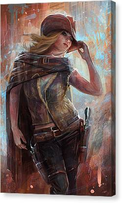 Canvas Print featuring the digital art Woman With No Name by Steve Goad