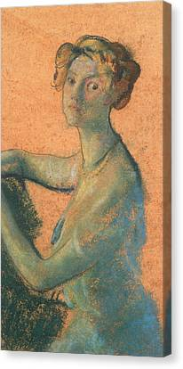 Woman With Orange Background Canvas Print by Arthur Bowen Davies