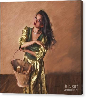 Woman With Pail  ... Canvas Print by Chuck Caramella