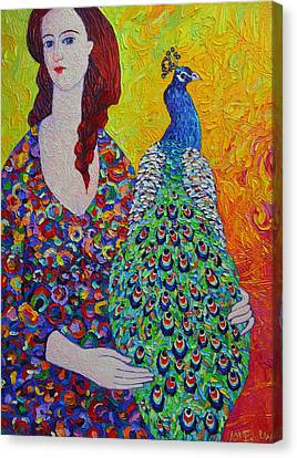 Designs On Face Canvas Print - Woman With Peacock Contemporary Portrait Impressionist Palette Knife Oil Painting Ana Maria Edulescu by Ana Maria Edulescu