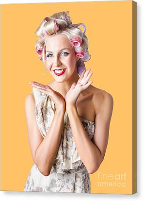 Youthful Canvas Print - Woman With Rollers In Hair by Jorgo Photography - Wall Art Gallery