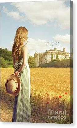 Woman With Straw Hat Canvas Print by Amanda Elwell
